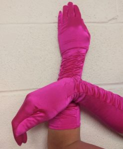 Shocking Pink Satin Gloves