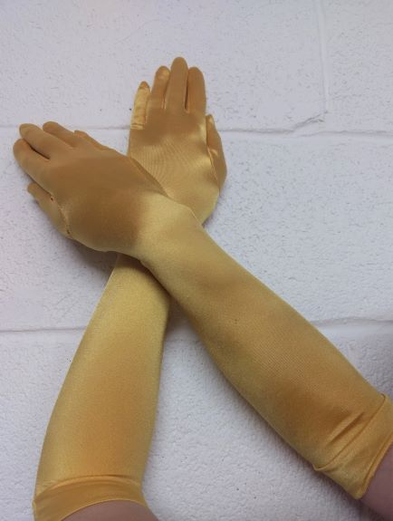 Clearance Wicked Gold Satin Gloves Ideal for costume, eveningwear and alternative wear.